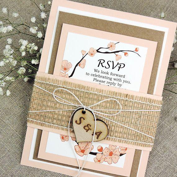 Rustic Wedding Invitation Peach Wedding Invitation Suite Rustic ...