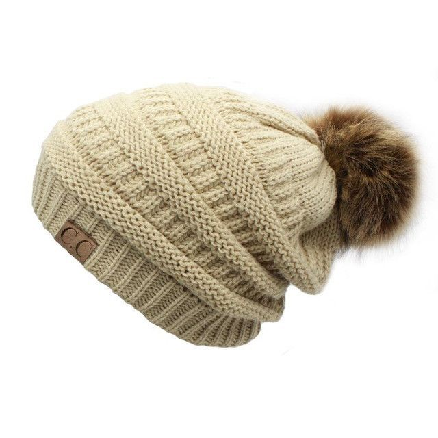 1ec5c283590 would wear a beanie with the furry ball on back. 2017 hot Double layer fur  ball cap pom poms ...