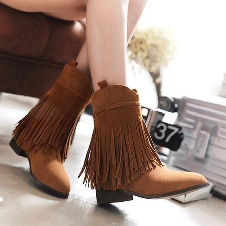 40966640b176 Tassel Chunky Heel Ankle Boots Round Toe Boots