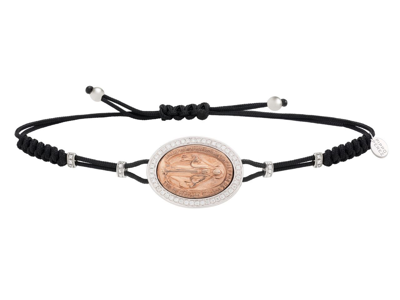 Holy mary bracelet in white gold with white diamonds bronze center
