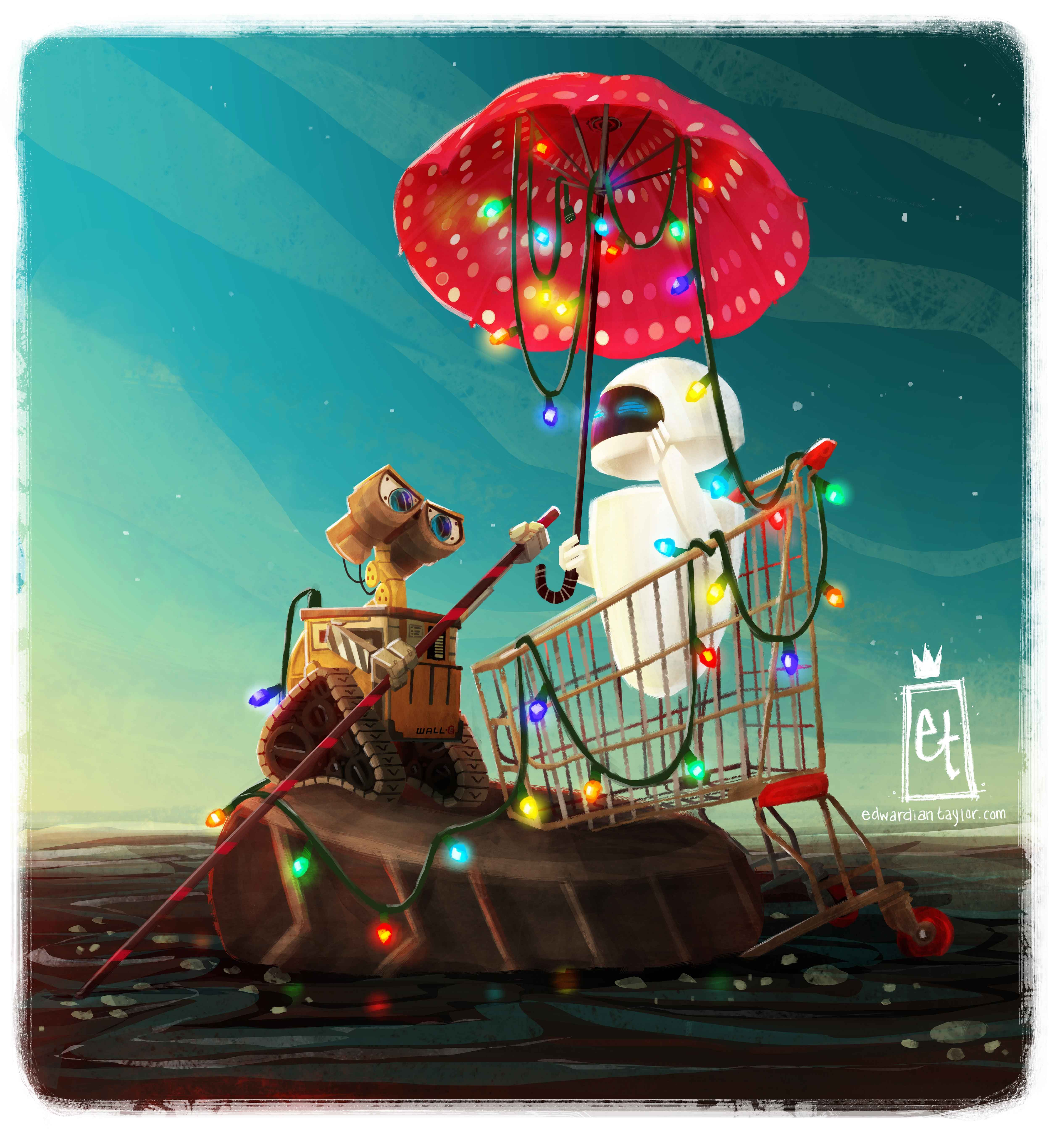 a romantic evening with wall e and eve disney art wall on wall e id=43882