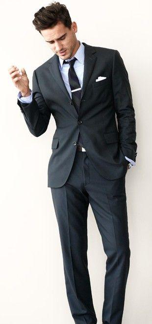 d7212557b937 Navy suit. Tie bar. Pocket square. Arthur Kulkov. | ☞ Men's Style ...