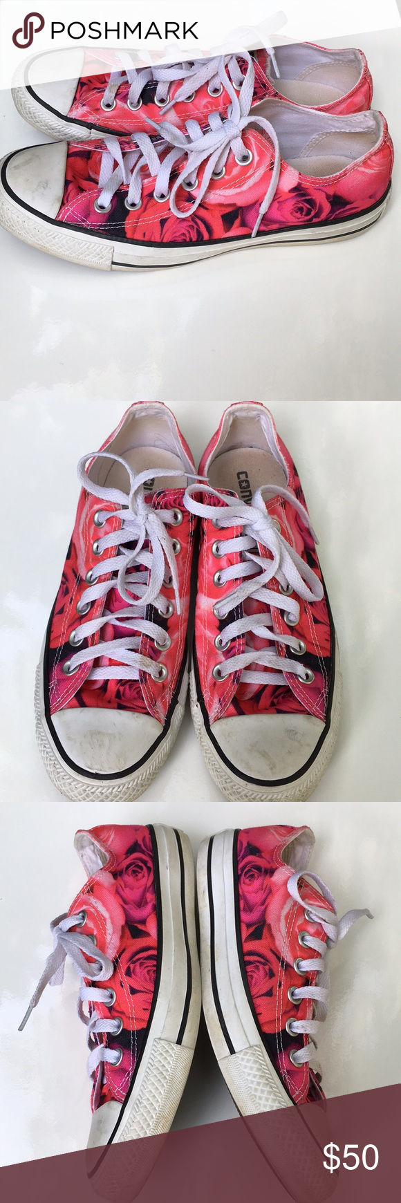 aa7665e580c Converse Roses Pattern size 7 Literally worn once to a picnic. A little  dirty in
