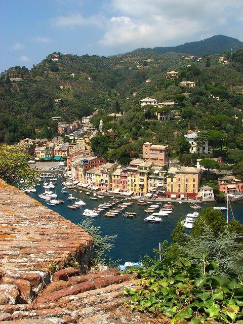 Portofino World: Panoramic view of Portofino, Italy A World apart.