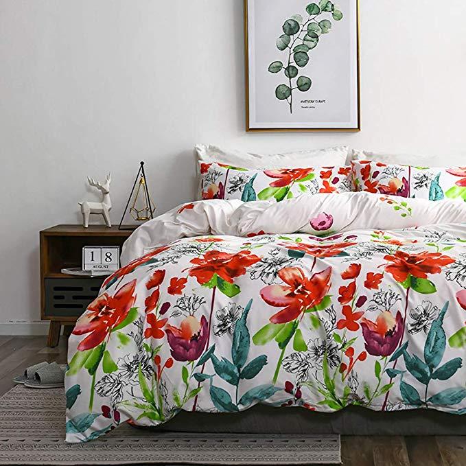 Amazon Com Tannicoor Boho Duvet Cover Hotel Quality Lightweight Microfiber Bedding Set Watercolor Flora Duvet Cover Sets Marble Duvet Cover Floral Duvet Cover