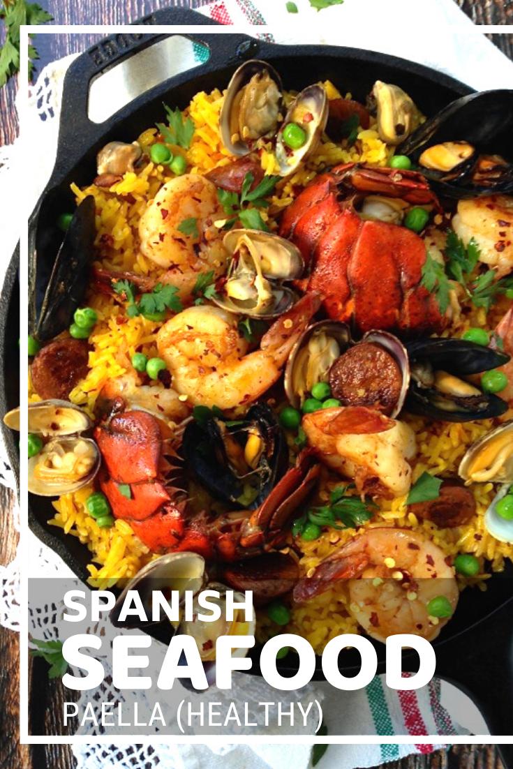 Spanish Seafood Paella (Healthy) #spanishmeals