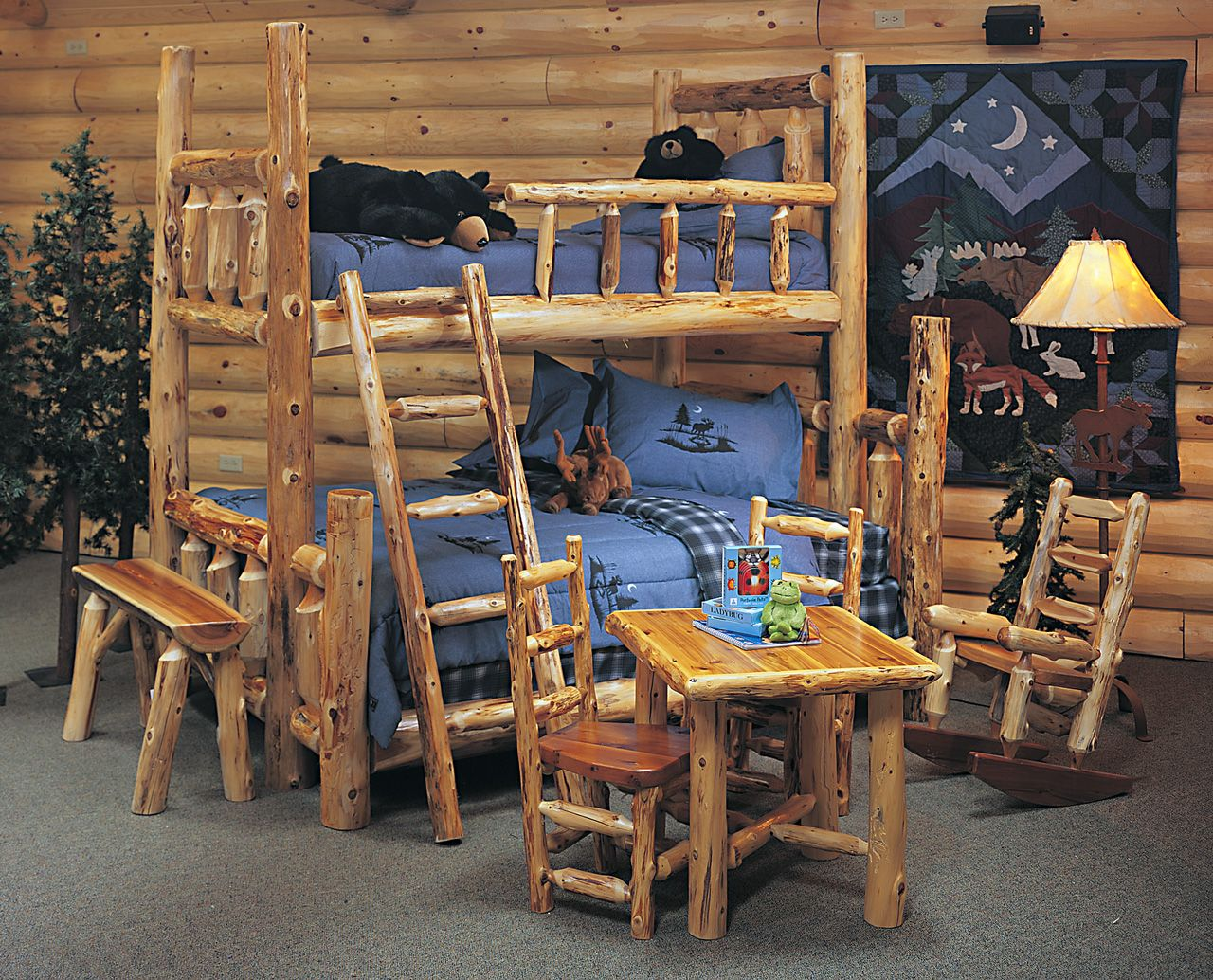 Exceptionnel Bedroom, : Outstanding Rustic Boy Bedroom Decoration Using Log Cabin  Bedroom Furniture With Log Bunk Bed Including Log Bedroom Wall And Log Bed  Bench