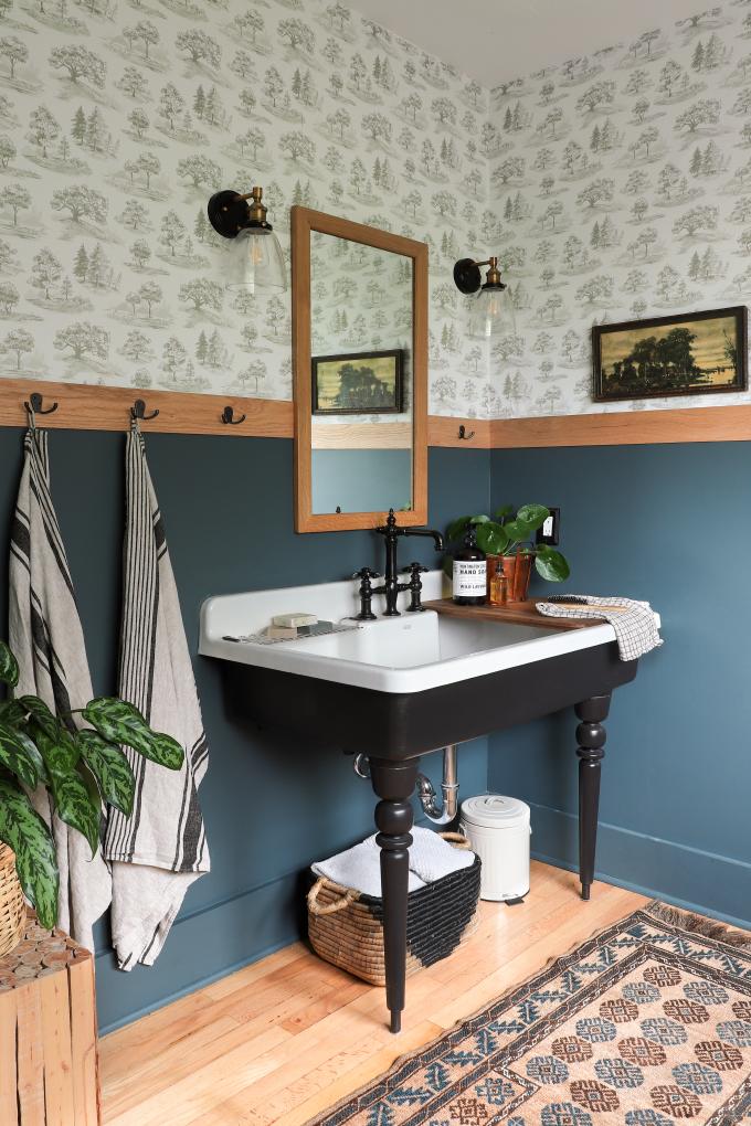 Bayview Barnhouse Wooded Bathroom Renovation Reveal Powder Room Decor Bathroom Renovation Bathroom Decor