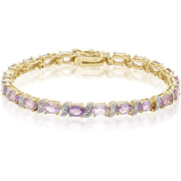Dolce Giavonna Gold over Sterling Silver Diamond Accent and Gemstone... (215 BRL) ❤ liked on Polyvore featuring jewelry, bracelets, purple, bow jewelry, gold bow bangle, yellow gold jewelry, purple jewelry and purple gold jewelry