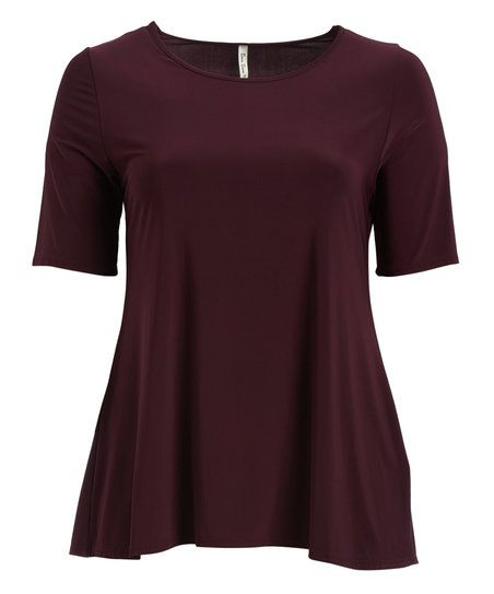 Boom Boom Plum Short-Sleeve Tunic - Plus | zulily