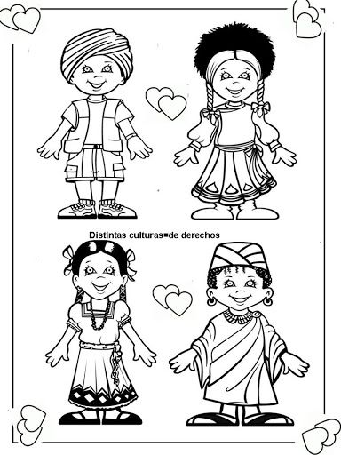 Pinto Dibujos: cute coloring page of children around the world ...