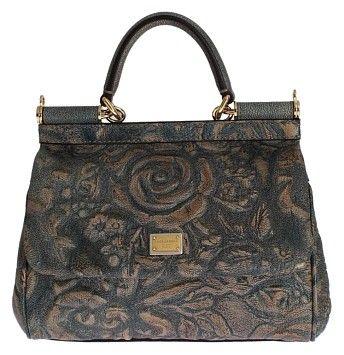 b4db3842e1f0 Dolce Gabbana Gold Floral Brocade Dauphine Leather Miss Sicily Hand Bag.  Multi Color Satchel on Sale
