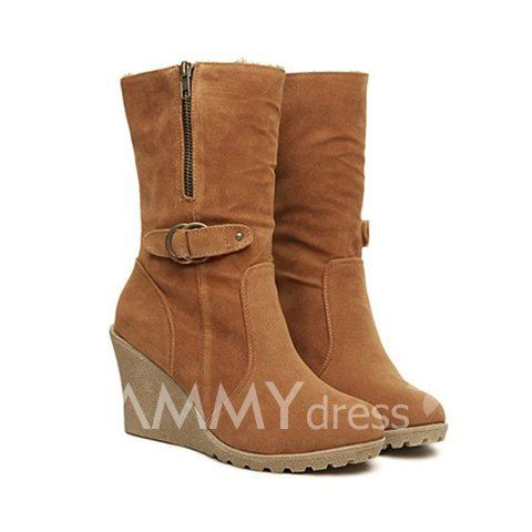 $19.83 Simple Women's Wedge Boots With Solid Color and Suede Design