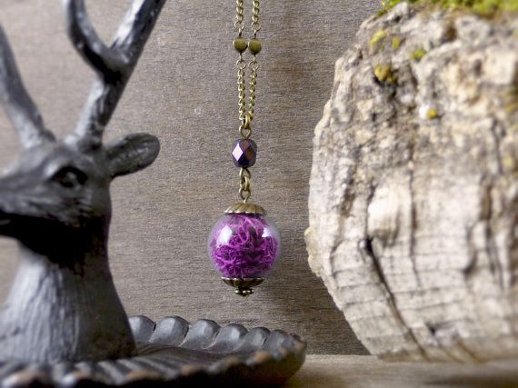 Fuchsia purple necklace Real moss necklace Nature by TriccotraShop
