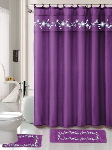 Charmant Kashi Home Leaves 15 Piece Shower Curtain Set Color: Green
