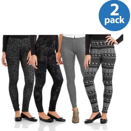 34713162ea0e6 Faded Glory Women's Fleece Lined Legging 2 Pack Value Bundle - Walmart.com