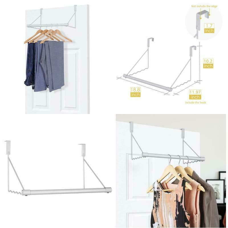 Details About Metal Over The Door Closet Rod Bracket For Clothes Rack Hanger Organizer White Closet Rod Clothing Rack Hanger Organizer