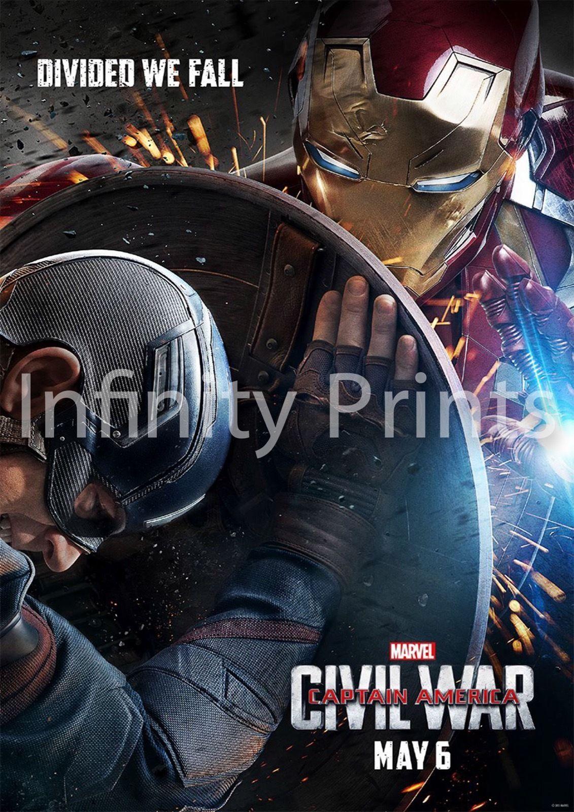 Captain America Movie Poster Prints A4 A3 Captain America Civil War
