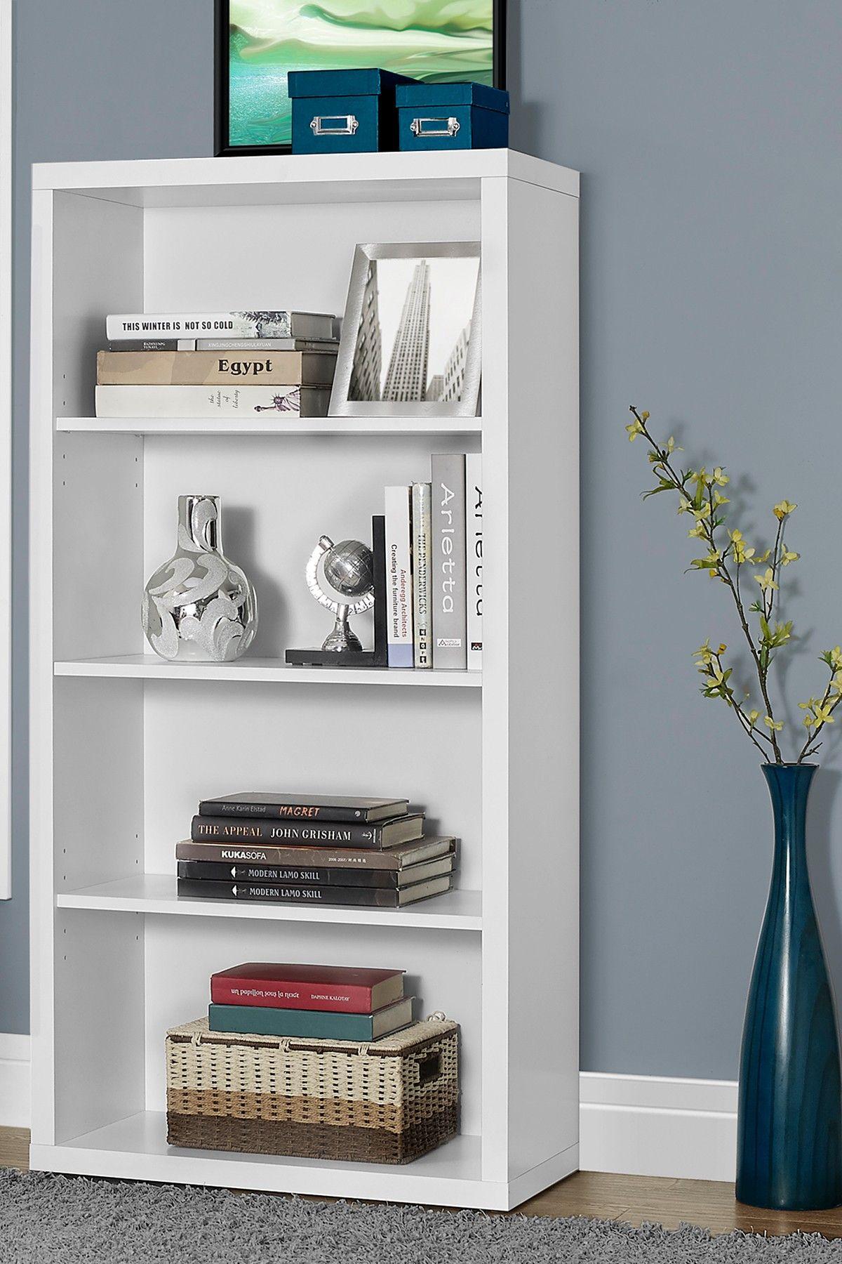 Monarch Specialties White Bookcase