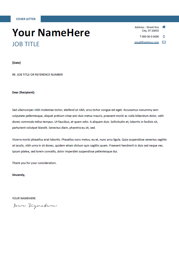 free clean and simple cover letter template for word docx blue
