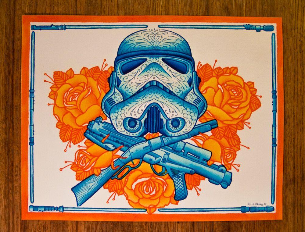 """Star Wars, Stormtrooper, Day of the Dead Sugar Skull (Dia De Los Muertos) 11 x 14"""" Limited Fine Art Print. $20.00, via Etsy."""
