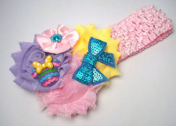 Easter Mouse Head Shabby Boutique Handmade Hair Bow And Headband - Fits all ages baby to women