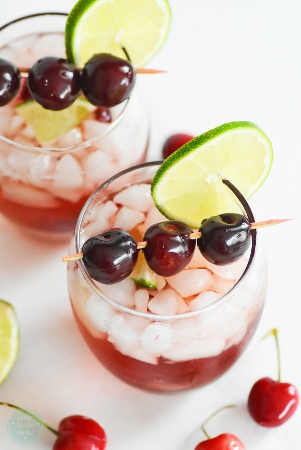 Virgin Cherry Lime Ricky Drink- Perfect birthday party drinks  for all ages. #ad