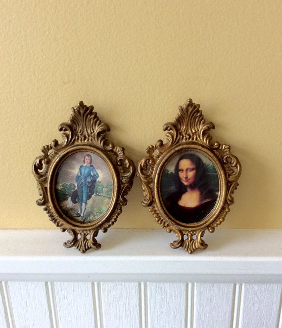 Vintage Pair Of Gold Small Ornate Oval Frames Wall Decor Made In