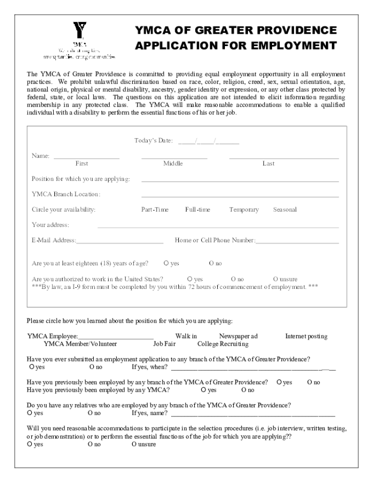 Free Printable Ymca Job Application Form Cancellation Filled Fill