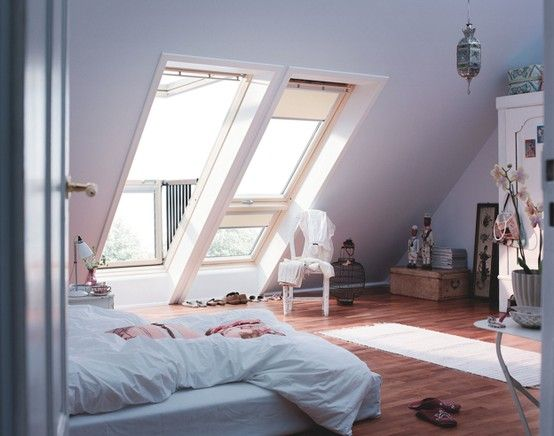 Velux Instant Balcony Windows - these lay flat against the roof, but push out to form their own balcony - very clever, I want !