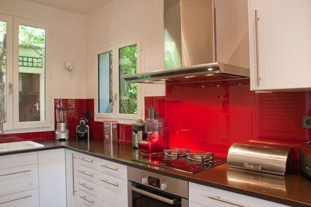 En Verre Rouge Deco Cuisine Rouge Credence Cuisine Deco