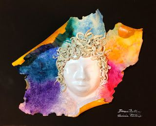Minnie Valero: MEDUSA, acrylic over ceramic mask over black canva...