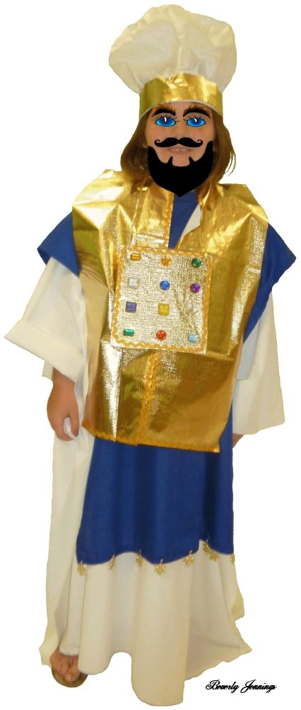 Homemade High Priest Costume. White robe long blue vest short gold vest  sc 1 st  Pinterest : priest robe costume  - Germanpascual.Com