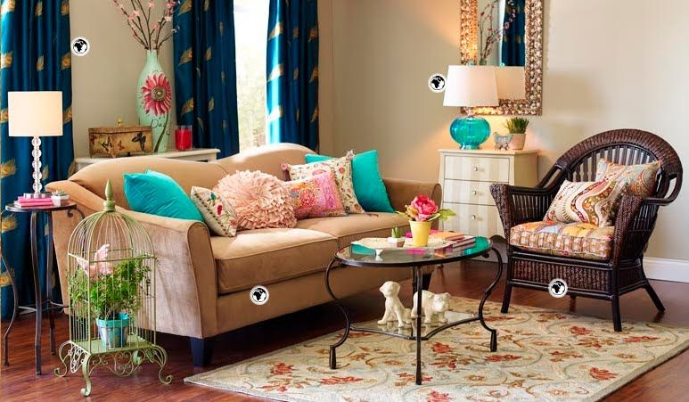 Love the aqua accents and the decorative birdcage here ...