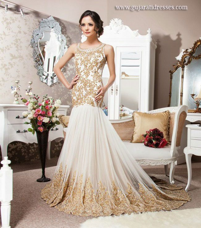 Ivory and Gold Indowestern Bridal Gown - Gujarati Dresses- 1500$ USD ...