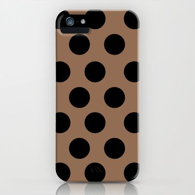 BROWN CLASSY POLKA DOTS iPhone & iPod Case by Allyson Johnson - $35.00