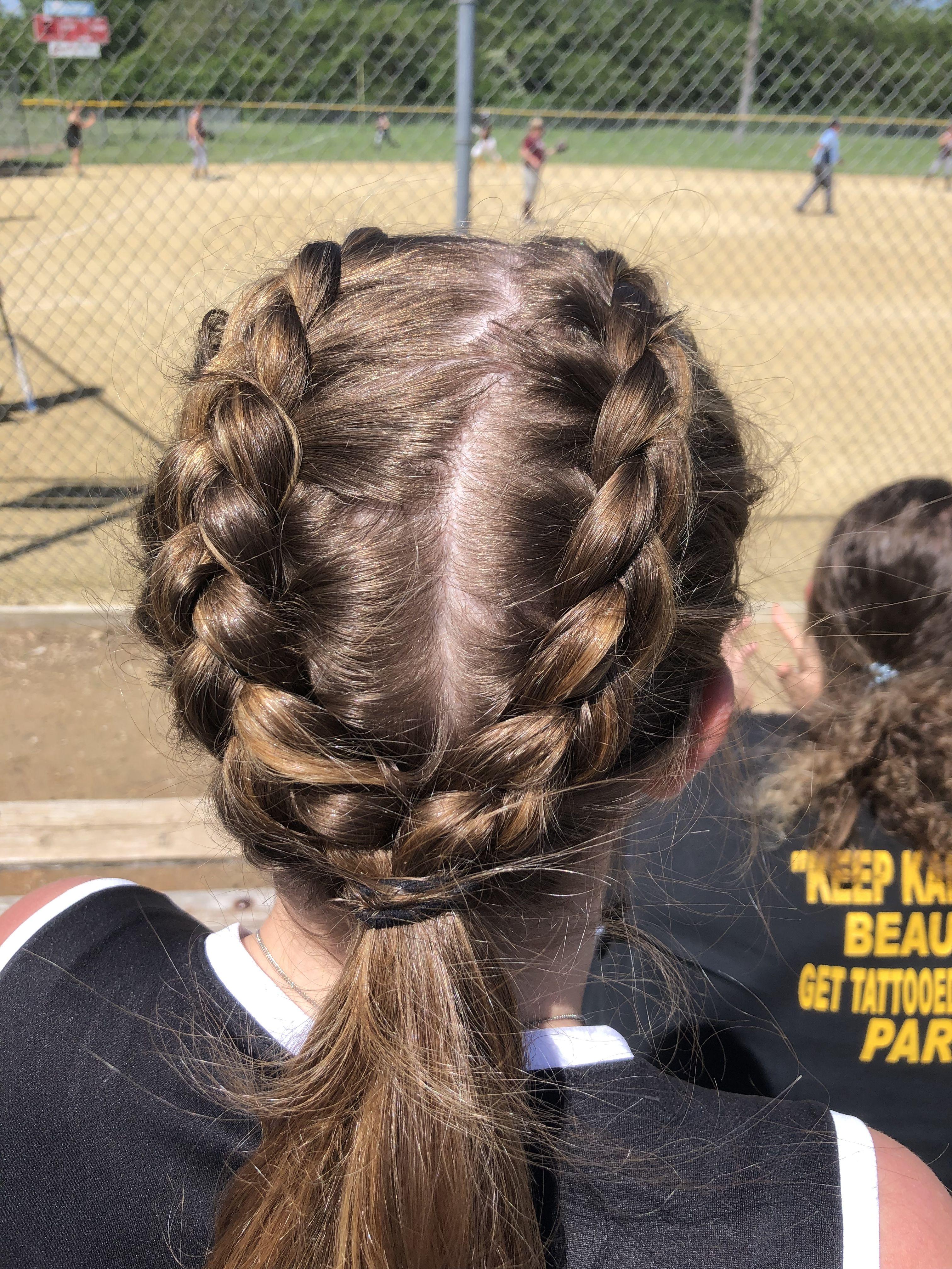 Softball Braid Ideas Sports Hairstyles Cheerleading Hairstyles Softball Hairstyles