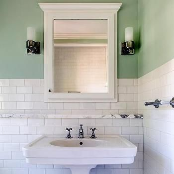 Since Pedestal Sink Provides No Counter Space Bathroom Is Wide Enough To Make Bumpout Behind Sink Green Bathroom Bathroom Feature Wall Green Marble Bathroom