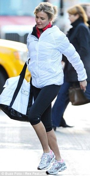 6cddc62d7983c Cameron Diaz wearing Adidas by Stella McCartney Small Duffel Bag Z01148 and  Lole Nahla Jacket.