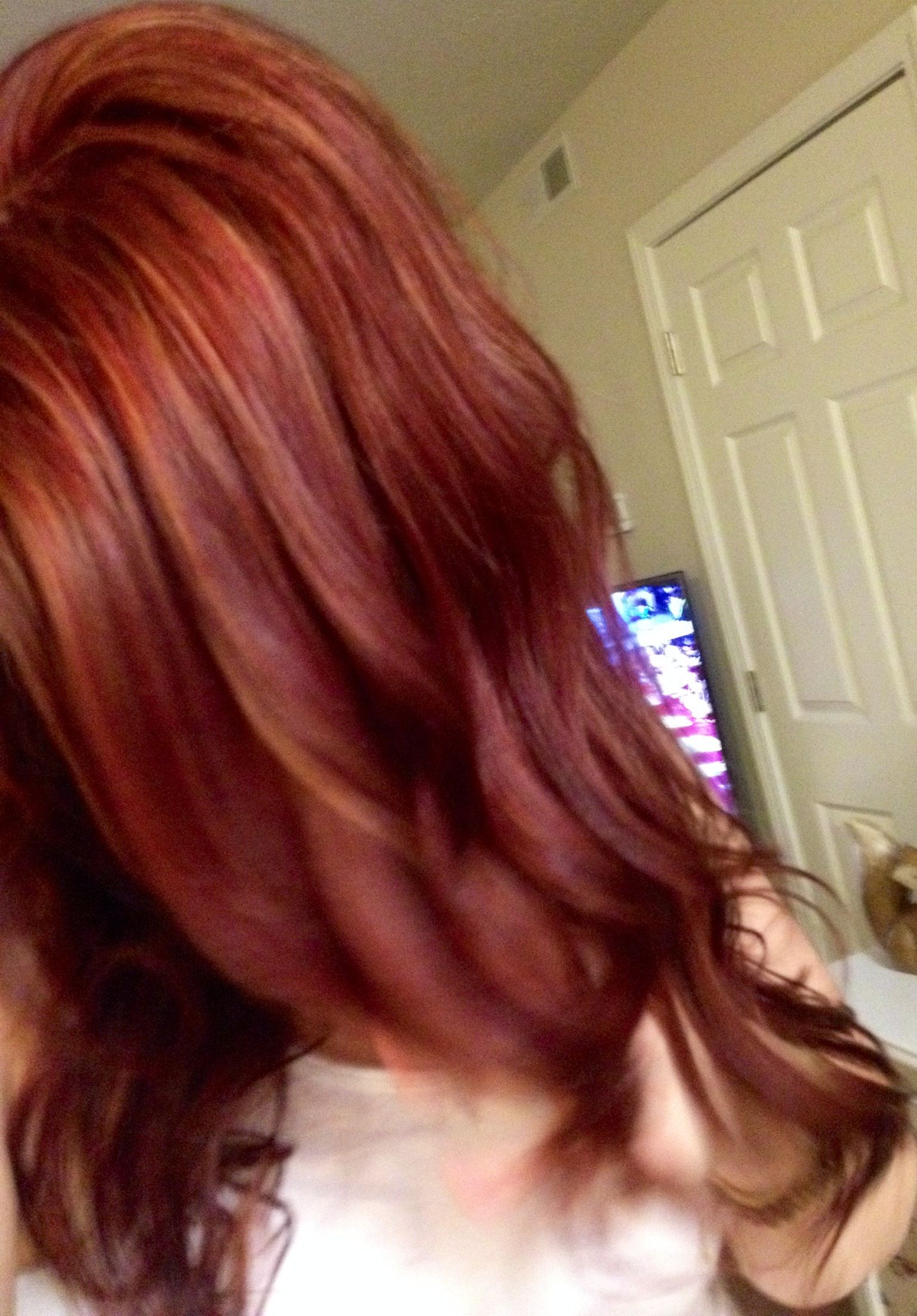 Mahogany red with copper red and blonde highlights.