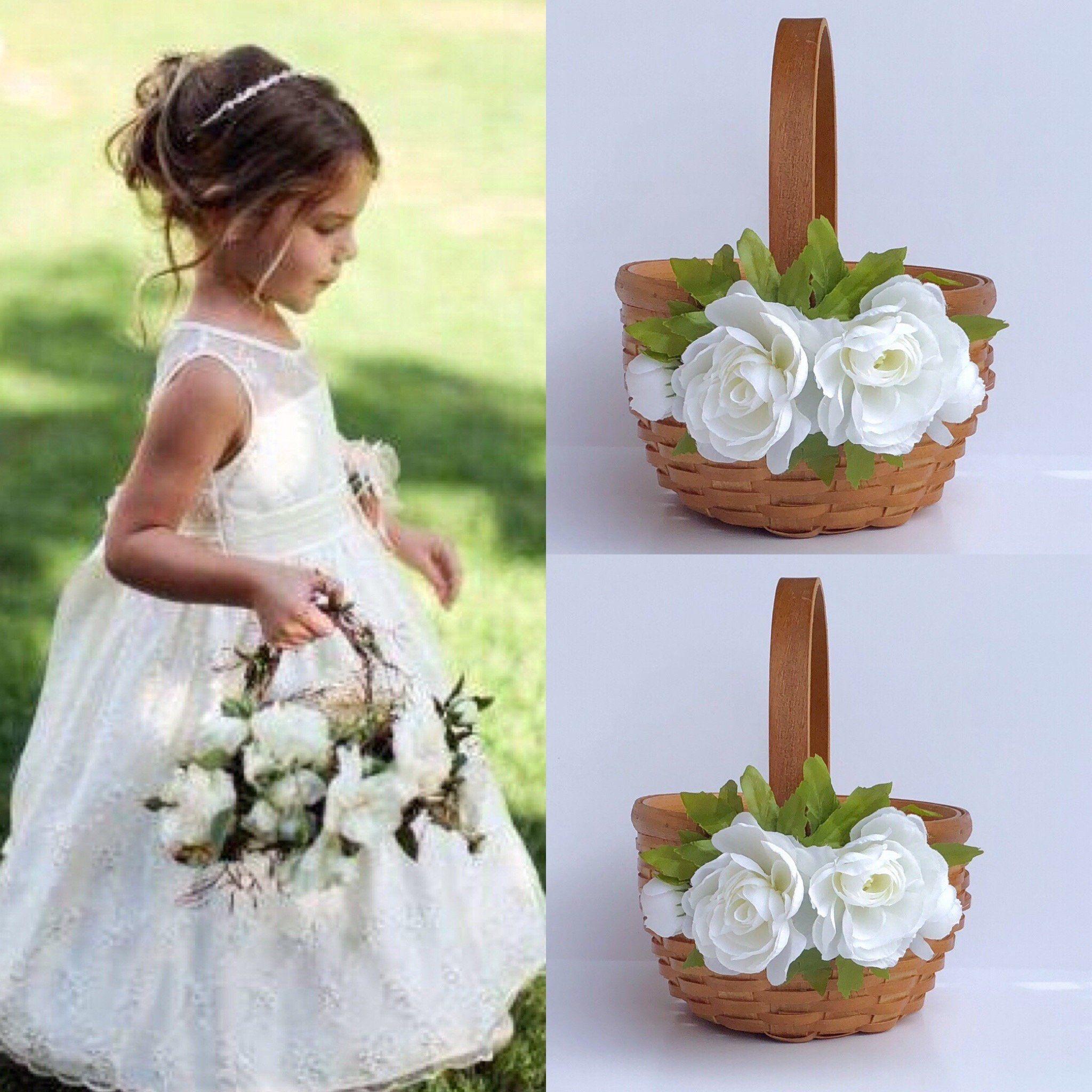 Flower girl baskets rustic flower basket ivory flower