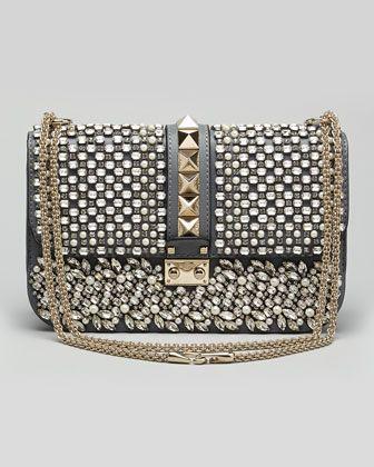 Glam Lock Medium Crystal Shoulder Bag, Stone by Valentino at Neiman Marcus.