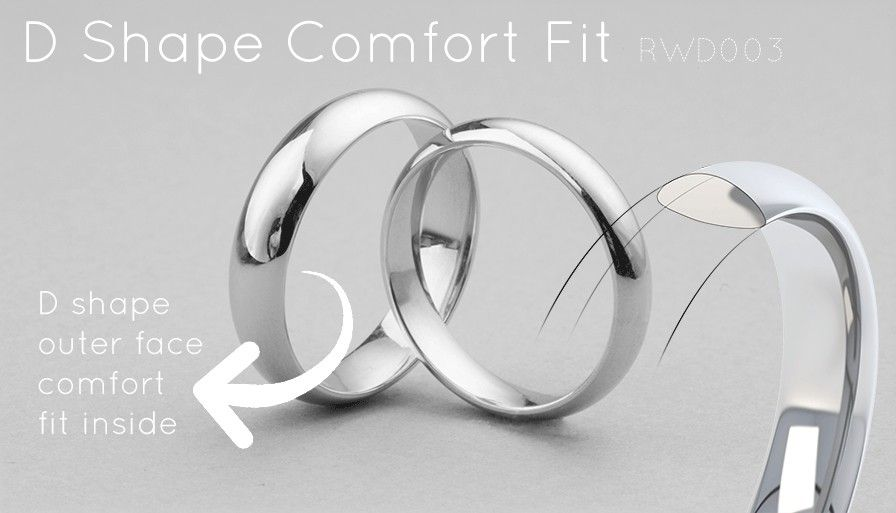 D Shaped Court Profile Wedding Ring with Comfort Fit wedding bits