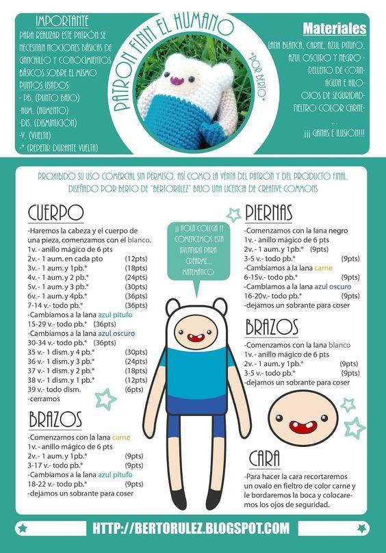 Bertorulez: Patron Finn el humano   Crochet toys   Pinterest ...