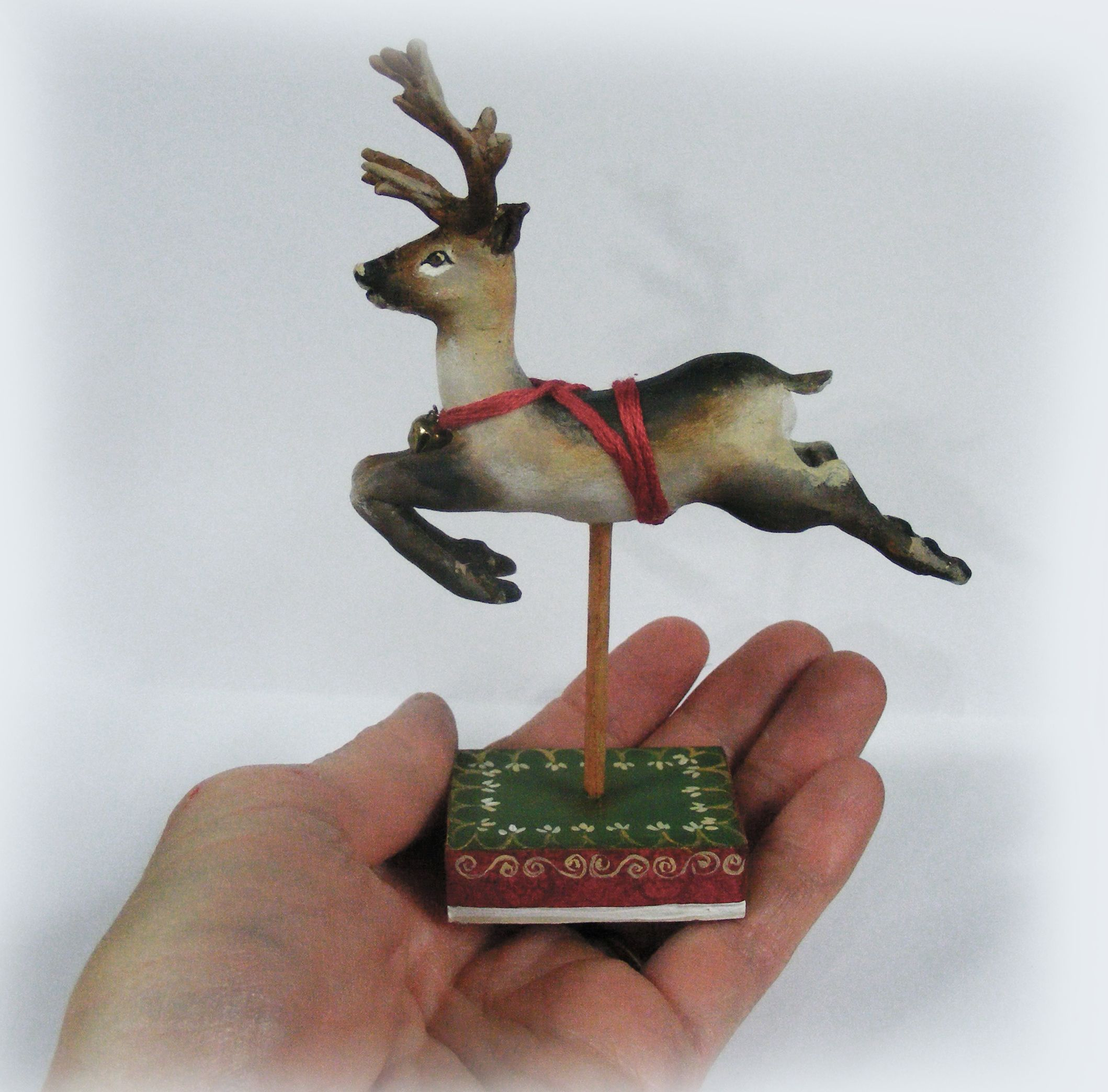 Miniature Handmade Reindeer Dollhouse Art