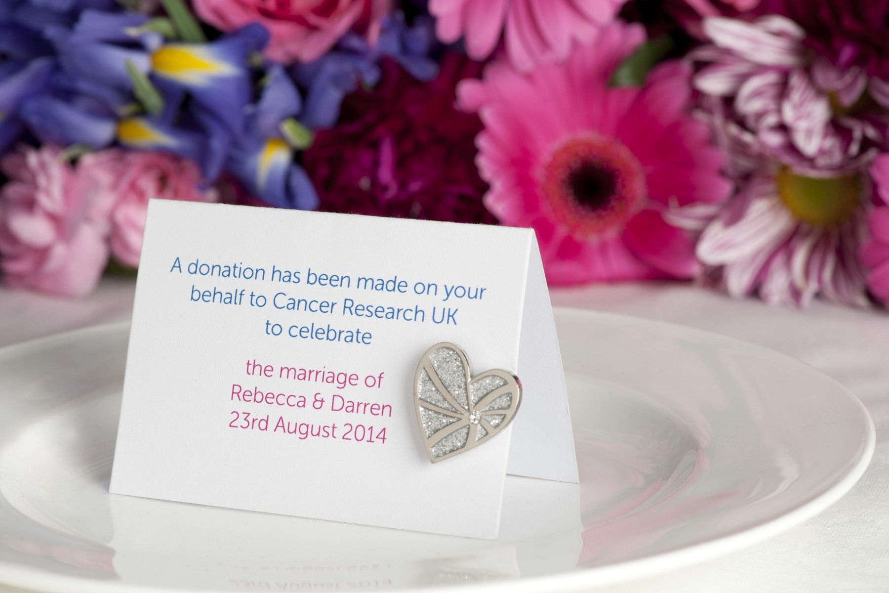 Personalised Wedding Favours Donating To Cancer Research Uk