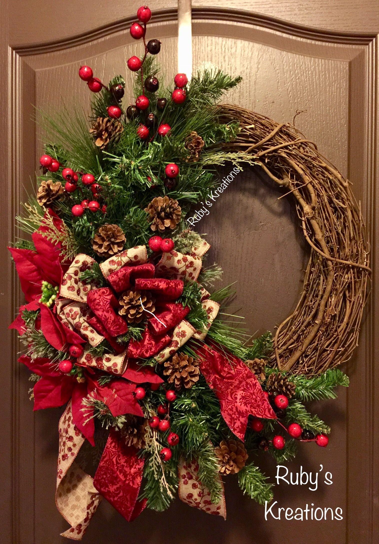 Christmas Grapevine Wreath Poinsettia Wreath Christmas