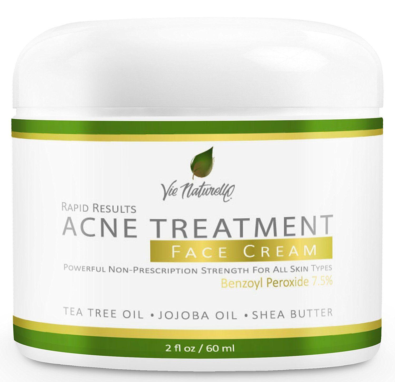 Acne Treatment Cream Topical Anti Medication Witch Hazel Acnes Tea Tree Oil Clay Mask 50g Leaf Jojoba Almond Shea Butter With Benzoyl Peroxide 75 2 Oz 60ml