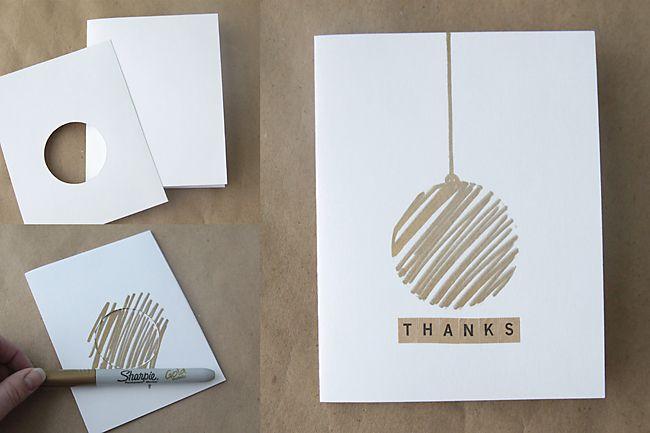 Easy Diy Thank You Cards With Metallic Sharpies Kerst Kaarten