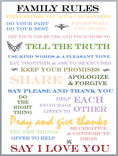 Family rules printable quotes to read daily pinterest for House rules chart template